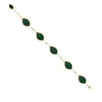 Jasmine Story- Yellow Gold 6 Jasmine leaves Bracelet - Malachite & Diamond