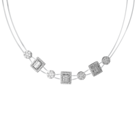 Touch Me Square-Cut and Circle Cut Diamond Choker Necklace