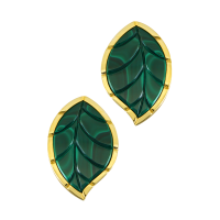 Jasmine Story- Yellow Gold 1 Leaf Earrings - Malachite