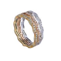 C'est Moi Multi-Layer White and Yellow Gold and Diamond Ring