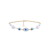Earth Madness Three-Oval-Eye Pearl and Gold Bracelet