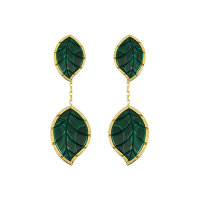 Jasmine Story- Yellow Gold 2 Leaves Earrings - Malachite