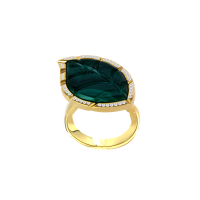 Jasmine Story- Yellow Gold Ring - Malachite & Diamond