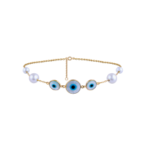 Earth Madness Three-Round-Eye Pearl and Gold  Bracelet