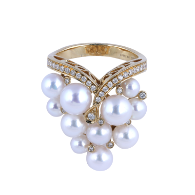 Earth Madness Gold and Pearl Ring