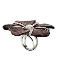 Flowers Of Love Bague Obsidian