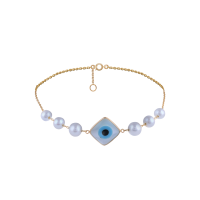 Earth Madness Gold and Pearl Eye Bracelet