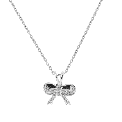 Ribbon Diamond Pendant/ Necklace