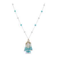 Earth Madness Gold, Turquoise and Pearl Necklace