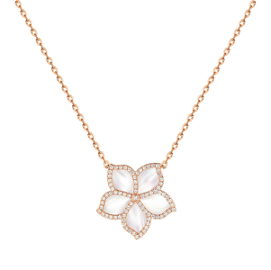 Damascene Jasmine- rose gold pendant- mother of pearl & Diamond