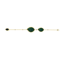 Jasmine Story- Yellow Gold 3 Jasmine leaves Bracelet - Malachite & Diamond