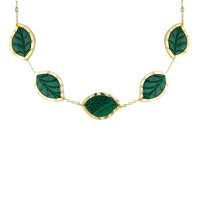 Jasmine Story- Yellow Gold Choker - Malachite & Diamond