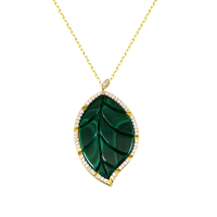 Jasmine Story- Yellow Gold One Leaf Pendant - Malachite & Full Diamond