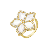 Damascene Jasmine- yellow gold ring- mother of pearl & Diamond