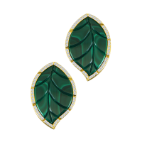 Jasmine Story- Yellow Gold 1 Leaf Earrings - Malachite & Full Diamond