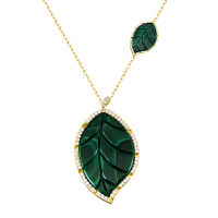 Jasmine Story- Yellow Gold 2 Leaves Pendant - Malachite & Full Diamond