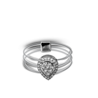 Touch Me Three-Circle Framed Pear-Shaped Diamond Ring