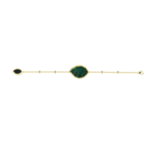 Jasmine Story- Yellow Gold 2 Jasmine leaves Bracelet - Malachite & Diamond