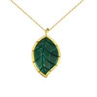 Jasmine Story- Yellow Gold One Leaf Pendant - Malachite