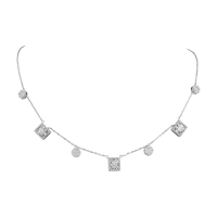 C'est Moi Round-Cut and Rectangular-Cut Diamond and Gold Necklace
