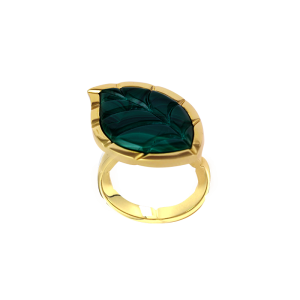 Jasmine Story- Yellow Gold Ring - Malachite