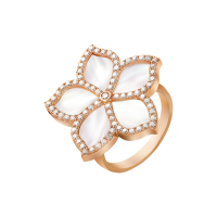 Damascene Jasmine- rose gold ring- mother of pearl & Diamond