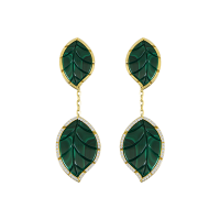 Jasmine Story- Yellow Gold 2 Leaves Earrings - Malachite & Diamond