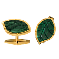 Jasmine Story- Yellow Gold Cufflinks - Malachite