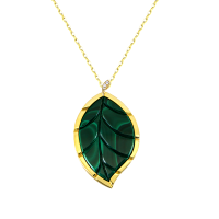 Jasmine Story- Yellow Gold One Leaf Pendant - Malachite & Diamond