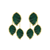 Jasmine Story- Yellow Gold 3 Leaves Earrings - Malachite