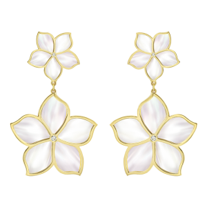 Damascene Jasmine- yellow gold earrings- mother of pearl & Diamond