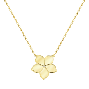 Damascene Jasmine- yellow gold pendant- Diamond